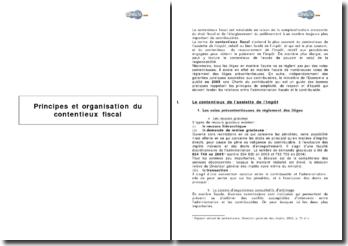 Principes et organisation du contentieux fiscal