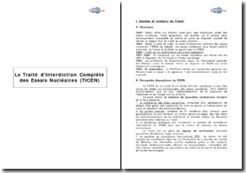 Le Traité d'Interdiction Complète des Essais Nucléaires (TICEN)