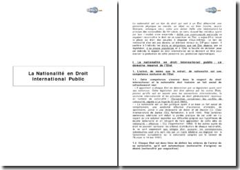 La nationalité en droit international public