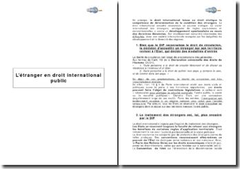 L'étranger en droit international public