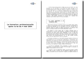 La formation professionnelle après la loi du 4 mai 2004