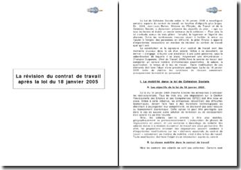 La révision du contrat de travail après la loi du 18 janvier 2005