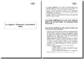 Le rapport Primarolo (novembre 1999)