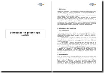 L'influence en psychologie sociale