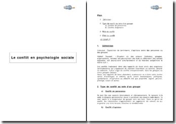 Le conflit en psychologie sociale