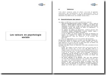Les valeurs en psychologie sociale