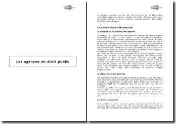 Les agences en droit public
