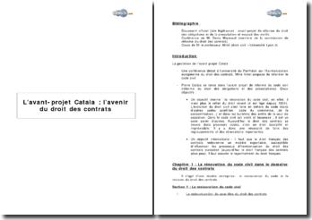 L'avant projet Catala: l'avenir du droit des contrats