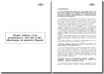 Plaute, Captiui, (Les prisonniers), vers 461 à 497, Monologue du parasite Ergasile