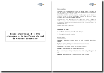 Etude analytique d'« Une charogne », in Les Fleurs du mal de Charles Baudelaire
