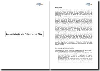 La sociologie de Frédéric Le Play