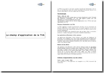 Le champ d'application de la TVA