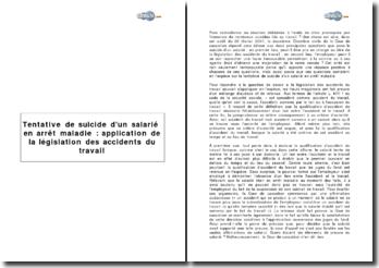 Tentative de suicide d'un salarié en arrêt maladie : application de la législation des accidents du travail