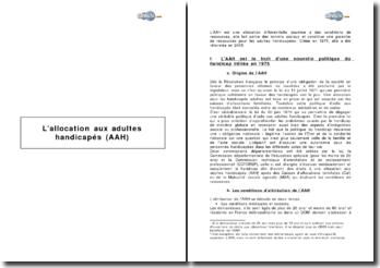 L'allocation aux adultes handicapés (AAH)