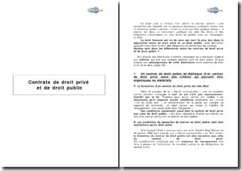 Contrats de droit privé et de droit public