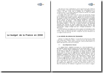 Le budget de la France en 2008