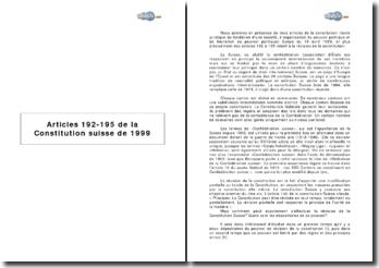 Articles 192-195 de la Constitution suisse de 1999