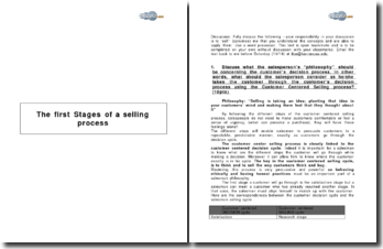 The first Stages of a selling process