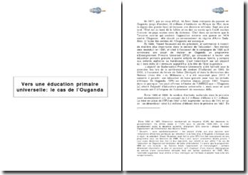Vers une éducation primaire universelle : le cas de l'Ouganda