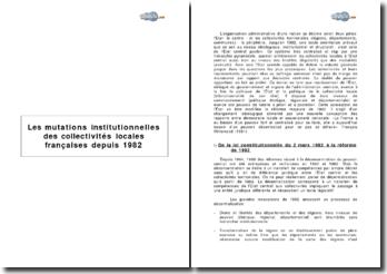 Les mutations institutionnelles des collectivités locales françaises depuis 1982