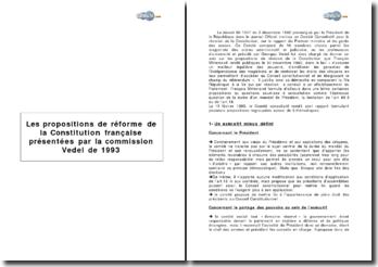 Les propositions de réforme de la Constitution française présentées par la commission Vedel de 1993