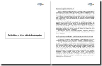 Définition et diversité de l'entreprise