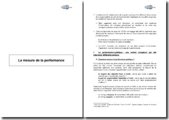 La mesure de la performance - cadre comptable et indicateurs en gestion publique