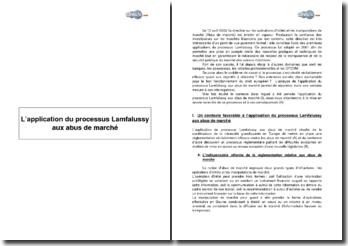 L'application du processus Lamfalussy aux abus de marché