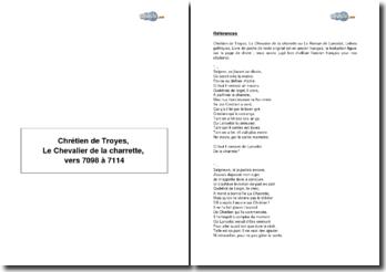 Chrétien de Troyes, Le Chevalier de la charrette, vers 7098 à 7114