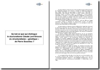 Qu'est-ce qui distingue le structuralisme de Claude Levi-Strauss du structuralisme génétique de Pierre Bourdieu?
