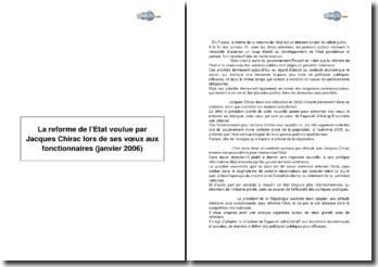 La reforme de l'Etat voulue par Jacques Chirac lors de ses voeux aux fonctionnaires (janvier 2006)