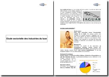 Etude sectorielle des industries du luxe