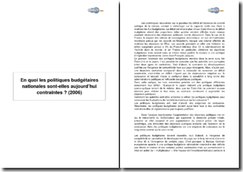 En quoi les politiques budgétaires nationales sont-elles aujourd'hui contraintes ? (2006)