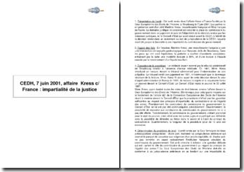 CEDH, 7 juin 2001, affaire Kress c/ France : impartialité de la justice