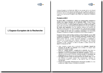 L'Espace Européen de la Recherche