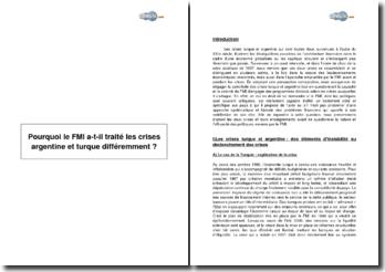 Pourquoi le FMI a-t-il traité les crises argentine et turque différemment ?