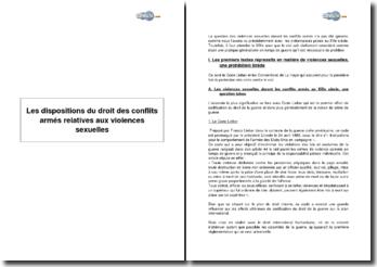 Les dispositions du droit des conflits armés relatives aux violences sexuelles