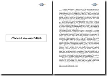L'Etat est-il nécessaire? (2006)