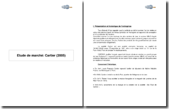 Etude de marché: Cartier (2005)