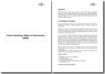 Fiche marketing: Nature & Découverte (2005)