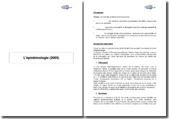 L'épistémologie (2005)