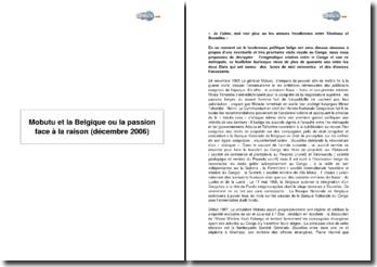 Mobutu et la Belgique ou la passion face à la raison (Décembre 2006)