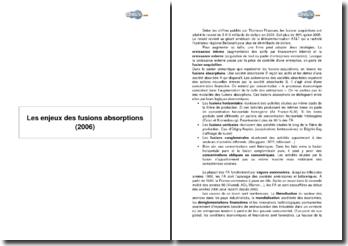Les enjeux des fusions absorptions (2006)