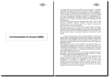Communication et censure (2006)