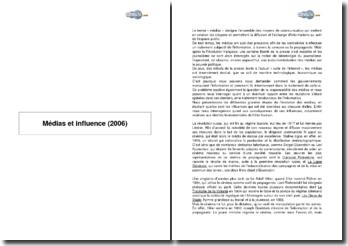 Médias et influence (2006)