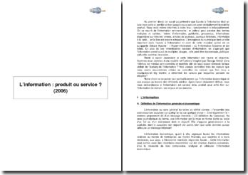 L'information : produit ou service ? (2006)