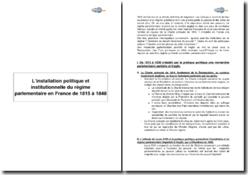 L'installation politique et institutionnelle du régime parlementaire en France de 1815 à 1848