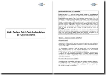 La fondation de l'universalisme, Alain Badiou, Saint Paul