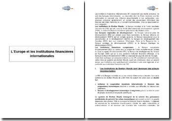 L'Europe et les Institutions financières internationales