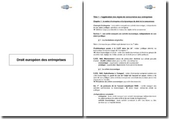 Droit européen des entreprises